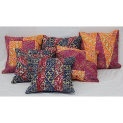 ETHNIC HOME DECOR ART HANDMADE KANTHA PATCH WORK INDIAN CUSHION COVER