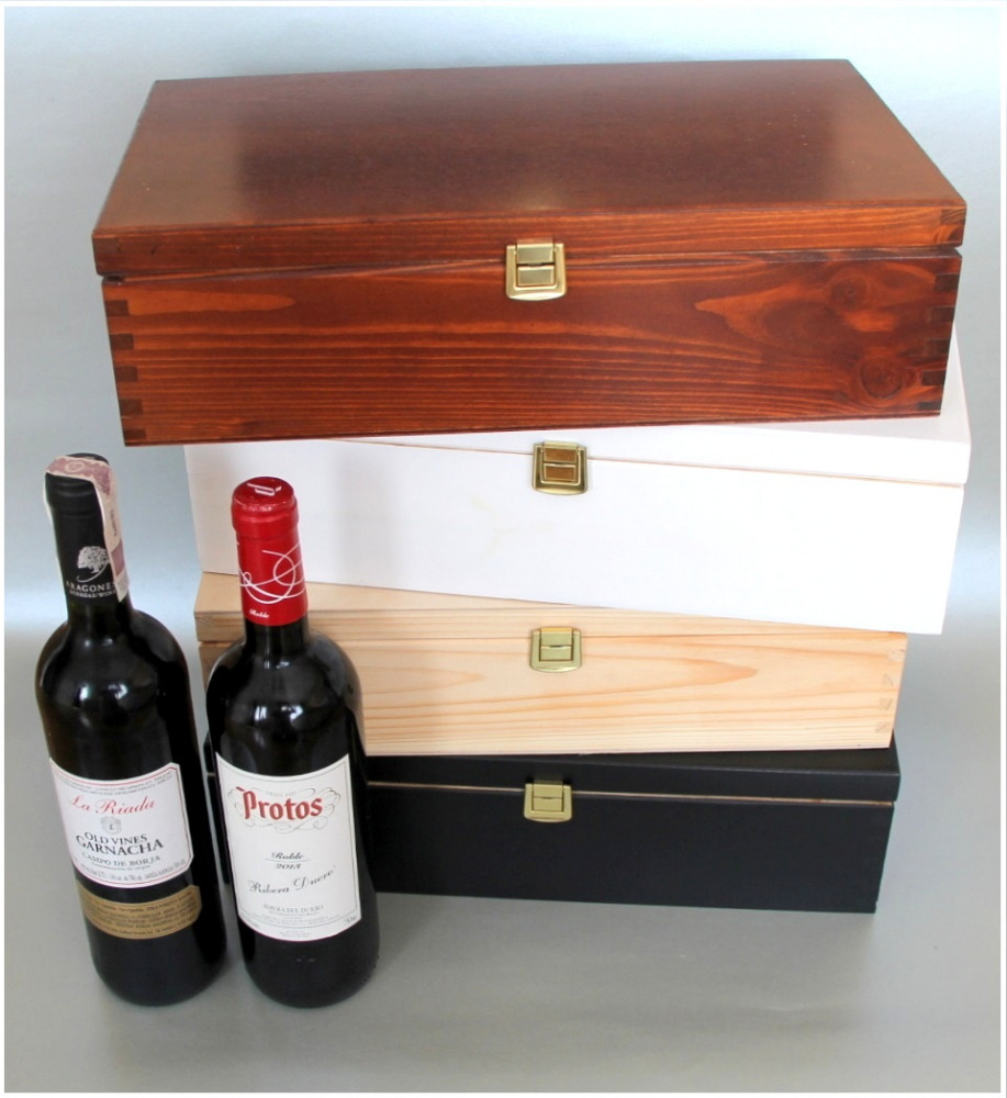 White double wine bottles wooden box wooden wine box for Timber wine box