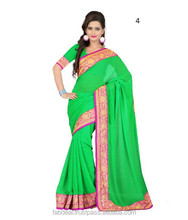 Border Design Saree | Palin Chiffon Saree With Border