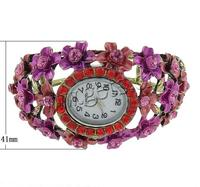 Bangle Watch Zinc Alloy with Glass Round painted with flower & with rhinestone 41mm Hole:Approx 58x45mm Length:Approx 7 Inch So