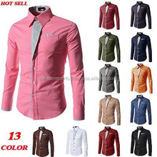 2015 New Dress Fashion Quality Long Sleeve Shirt Men. Slim Casual solid color, stand collar,solid color