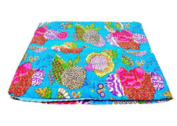 Tropical Fruit Reversible Kantha, Turquoise Designer Gudri, Pure Cotton Blanket, Indian Bohemian Hippie Bedspread