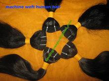 100% virgin hair natural color hair weft/ hair weaving/machine wefted