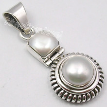 925 Silver WHITE FRESH WATER PEARL 2 JEWEL OLD STYLE Pendant 3.5 CM 5.7 Grams