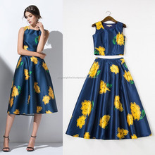2015 New Fashion Collection Spring Summer Runway Suit Women Floral Print Crop Tops