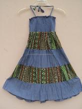 2015 Best design pattern cotton halter looking dress for kids wear girls