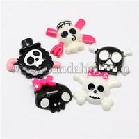 Scrapbook Embellishments Halloween Skull Ornaments Resin Flatback Cabochons, Mixed Color, 19~28x28~34x7~8mm CRES-L005-30