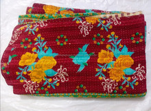 Vintage Throw Bedcover Kantha Embroidery Bedspread Quilts