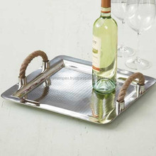 Stainless steel serving tray with rope handle