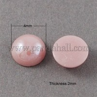 Glass Cabochons, Plated Pearlized, Half Round/Dome, Pink, 4x2mm GGLA-S020-4mm-04