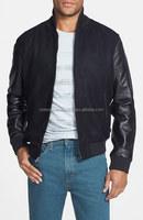 high quality varsity jacket,custom high quality varsity jacket leather sleeve,nylon wool body leather sleeves varsity jacket