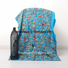 Indian Kantha Quilt Queen Kantha Quilt Turquoise Bird Print Bedspread Kantha Blanket Throw Wholesale Supplier