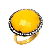 Yellow Chalcedony & Cubic Zircon Gemstone Victorian Ring