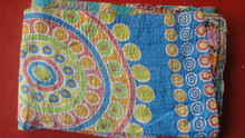 RTHKGC-355 Vintage Handmade Embroidery Kantha Quilt / Throws / Gudari hand quilted kantha quilts India