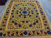 RTHBC-D11 Yellow Color Handmade Royal Prismatic Modernistic Floral Uzbekistan Suzani Embroidery Designs Manufacturers Jaipur