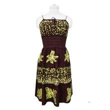 Batik Print Dress Hippie Brown Rayon Casual Women Resort Wear Tube Dress Size M