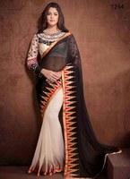 Indian exclusive wedding bridal georget Saree/designer bridal Saree with heavy pyramid border