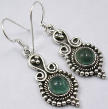 925 Solid Silver Genuine APATITE ELEGANT Stone ANTIQUE STYLE Earrings 4.4 CM NEW