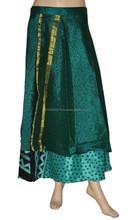 HIPPY BOHO GYPSY PIXIE HEM SARI SILK SKIRT DRESS FAIR TRADE BEAUTIFUL