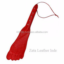 Slapper Style Leather Riding Paddle, sex toy pictures, Foot Shape Red Slapper