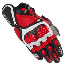Off-road Red Street Riding Motorcycle/Motorbike Biker Leather Gloves- One Sample Piece option Available