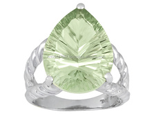 Green Amethyst Silver Jewellery, Wholesale Silver Ring With Prasiolite Stones, 925 Silver Jewelry