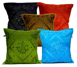 Indian Decor Handmade Cotton Cushion Cover Pillow Covers, 16 X 16 Inches