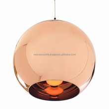 Modern copper shade glass pendant lamp