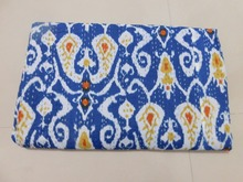 BRKQ- 86 Indian Ikat Blue Kantha queen size gudri quilt throws bedcover Handmade Rally, bedding manufacturer from jaipur