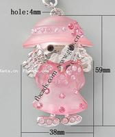 Rhinestone Resin Pendants with Resin & Zinc Alloy Girl 59x38x22mm Hole:Approx 4mm Sold By PC