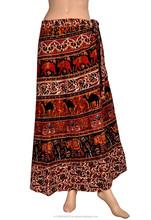 USA/UK Beach Ethnic wrap around block print long skirt in cotton