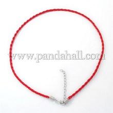 Красный плетеный искусственная кожа ожерелье шнуры, с платинового цвета железной застежкой омар застежками и железными цепями X-NCOR-R026-6