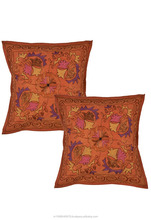 Rangasthali Traditional Kashmiri Embroidered Work Cushion Cover Set-2 pcs