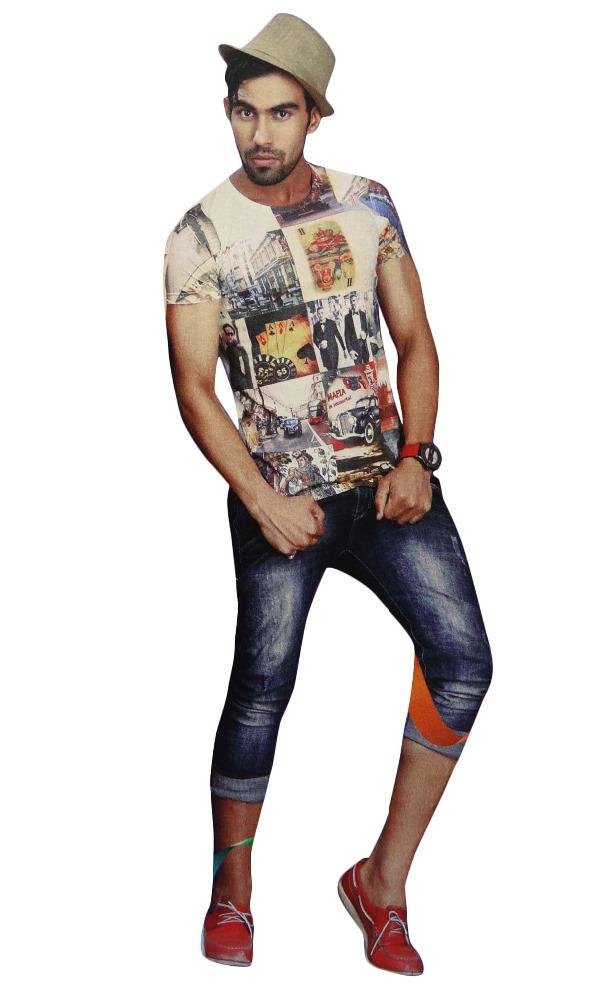 Short Sleeve Indian Printed T Shirt Round Shape Neck Tees