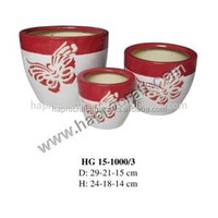 Vietnamese hand-made round flower ceramic pots/ Round Ceramic Flower pot ( HG 15-1000/3)