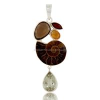 Ammonite, Smokey, Citrine and Garnet Sterling Silver Gemstone Pendant