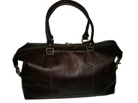 Mens Dark Brown Vintage Genuine Cowhide Leather Travel Duffel Bag
