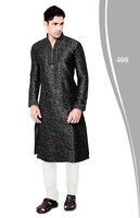 Black Designer Mens Kurta with churidaar