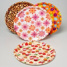 SERVING TRAY ROUND FLAT 13.75 INCH 4 ASST DESIGNS IN PDQ #41749P