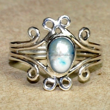 Pearl 925 Sterling Silver Ring, Fantastic Marchasite Oxidized SER3279
