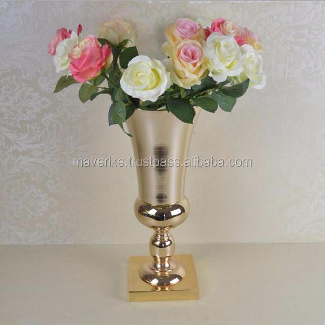 Wedding Decoration Metal Flower Vasegold Trumpet Vase For