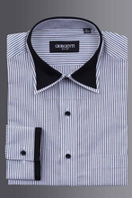 Designer Fashion Mens Dress shirt in stripes with collar cuff trimming