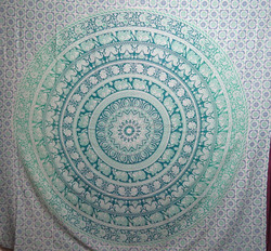 Hippie Round ombre Tapestry Home decor Mandala Boho beach throw
