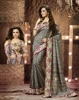 PRINTED CANVAS SILK SAREE WITH EXCLUSIVE FOIL PRINT LACE BORDER