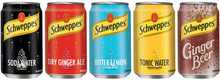 Schweppes Tonic / Biter Lemon / Ginger Ale / Soda water 24x33cl cans