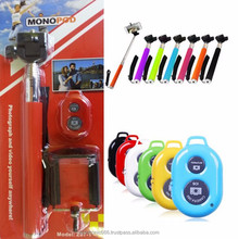 2015 3 in 1 Bundle Kit Selfie Monopod Stick + Cell Phone Clip Holder + Bluetooth Wireless Remote Controller For iPhone/Samsung