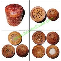 Handmade wooden smoking herb four layer grinder, size : 63x54mm