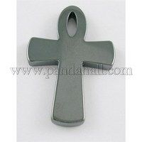 Non-Magnetic Hematite Ankh Cross Pendants, Black, about 34mm wide, 49mm long, 4.8mm thick, hoel: 3mm, hole: about 3mm