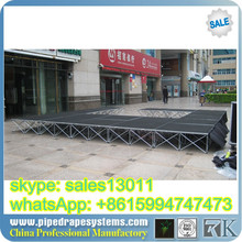 attractive outdoor stage with roof top structure 4 x 4feet aluminum frame glass platform wedding stage