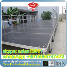 portable stage with steps 4 x 4feet aluminum frame glass platform wedding stage